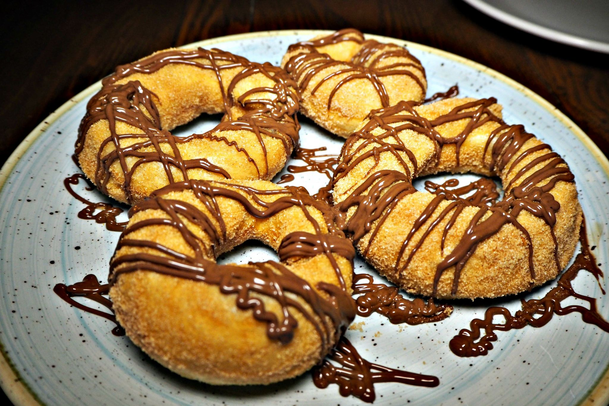 Doughnuts covered in Nutella