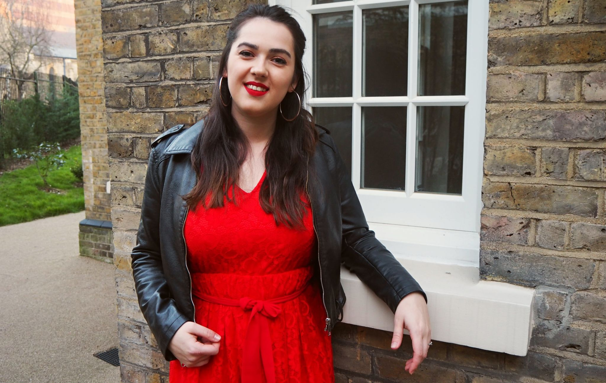 Leather Jacket Red Dress